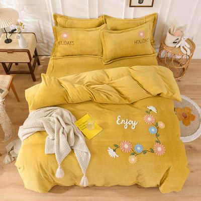 2020新款牛奶绒毛巾绣四件套 1.5m床单款四件套 花开朵朵姜黄