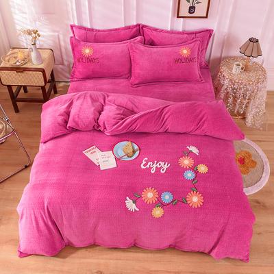 2020新款牛奶绒毛巾绣四件套 1.5m床单款四件套 花开朵朵玫红