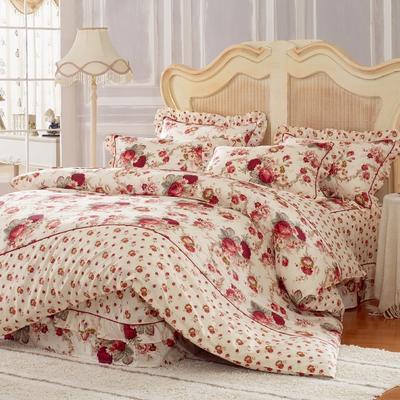 床裙床笠式床罩四件套纯棉床裙四件套 1.5m(5英尺)床 沉醉花间