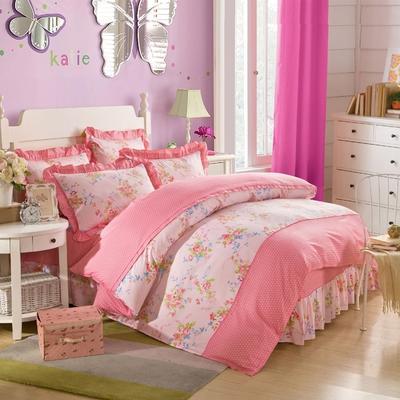床裙床笠式床罩四件套纯棉床裙四件套 1.5m(5英尺)床 春去春回