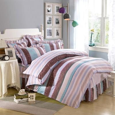 床裙床笠式床罩四件套纯棉床裙四件套 1.5m(5英尺)床 罗马假日