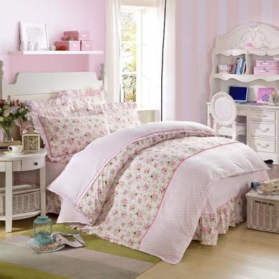 床裙床笠式床罩四件套纯棉床裙四件套 1.5m(5英尺)床 蔓延情