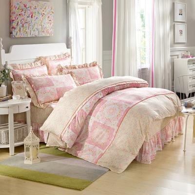 床裙床笠式床罩四件套纯棉床裙四件套 1.5m(5英尺)床 米拉之城