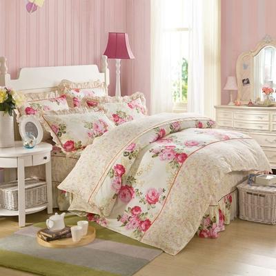 床裙床笠式床罩四件套纯棉床裙四件套 1.5m(5英尺)床 情梦巴黎
