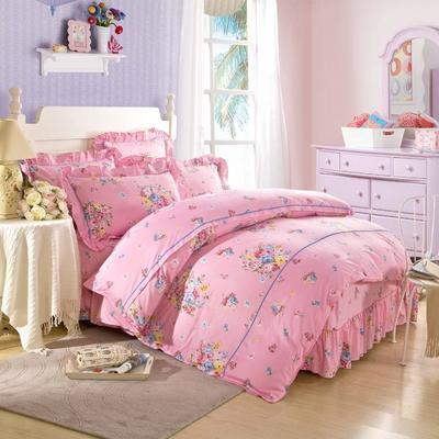床裙床笠式床罩四件套纯棉床裙四件套 1.5m(5英尺)床 秀丽春色