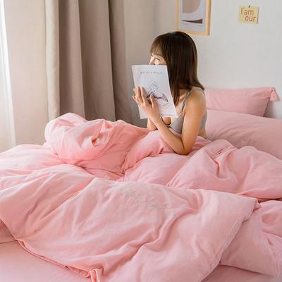 2020新款春夏双层纱四件套—模特图 1.5m床单款四件套 粉色