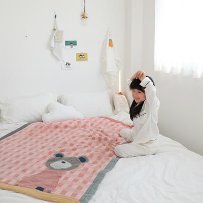 2020新款小歡喜兒童純棉夏被—實拍2 單品夏被120x150cm 粉色小熊