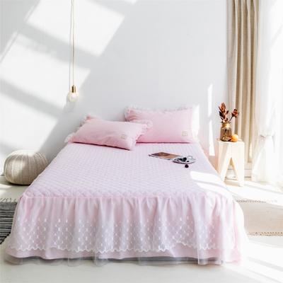 2019新款-仙女范秋冬加厚床裙純色冬季加厚公主風歐式簡約床裙三件套 枕套/對 粉色