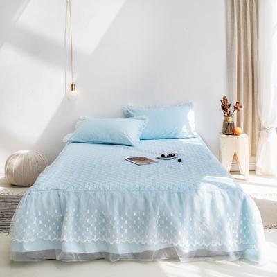 2019新款-仙女范秋冬加厚床裙純色冬季加厚公主風歐式簡約床裙三件套 枕套/對 藍色