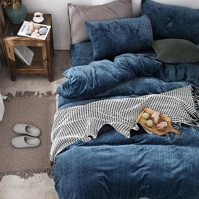 2019新款JOY-ME絞花絨保暖四件套(棚拍A) 1.8m(6英尺)床單款 藏青色