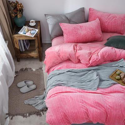 2019新款JOY-ME絞花絨保暖四件套(棚拍A) 1.8m(6英尺)床單款 西瓜紅
