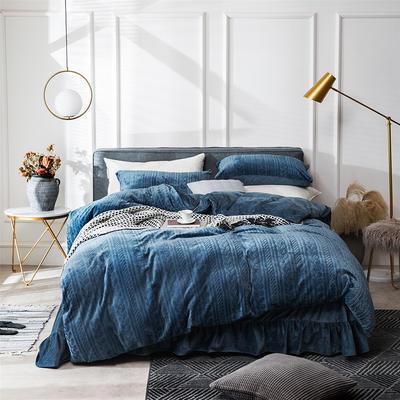2019新款JOY-ME絞花絨保暖四件套(棚拍B) 1.8m(6英尺)床單款 藏青色