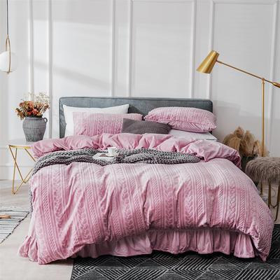 2019新款JOY-ME絞花絨保暖四件套(棚拍B) 1.8m(6英尺)床單款 粉紫色
