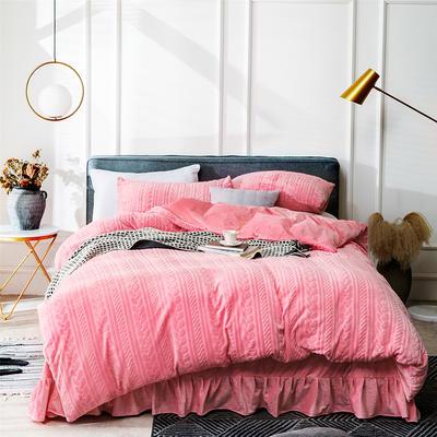 2019新款JOY-ME絞花絨保暖四件套(棚拍B) 1.8m(6英尺)床單款 西瓜紅