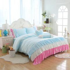 短毛绒小清新款四件套 1.5m床 缤纷色彩-蓝