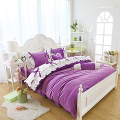 短毛绒小清新款四件套 2.0m床 魅惑-深紫