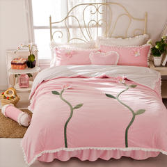 立体花短毛绒四件套-双色花 1.8m(6英尺)床 双色花-粉
