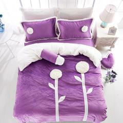 立体花短毛绒四件套-向日葵 2.0m床 向日葵-紫色