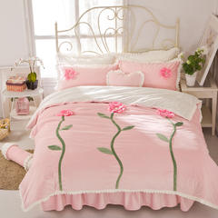 超柔短毛绒立体花系列四件套-秘密花园 2.0m床 秘密花园-粉色
