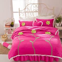 超柔短毛绒立体花系列四件套-秘密花园 2.0m床 秘密花园-玫红