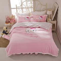 绣花短毛绒四件套 1.8m床 HelloKitty-粉色