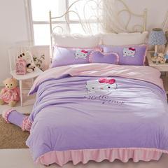 绣花短毛绒四件套 1.8m床 HelloKitty-浅紫