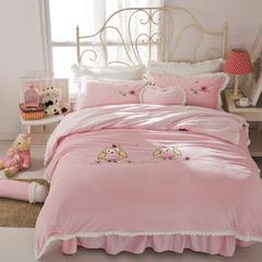 绣花短毛绒四件套 1.2m床 猫头鹰-粉色