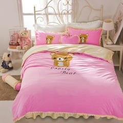 绣花短毛绒四件套 2.0m床 轻松熊-粉色