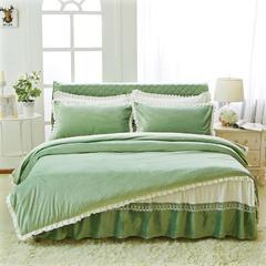 韩版超柔短毛绒夹棉床裙四件套 1.2m床 草绿