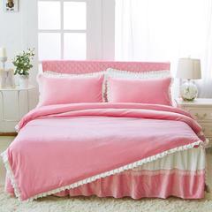 韩版超柔短毛绒夹棉床裙四件套 1.2m床 粉色