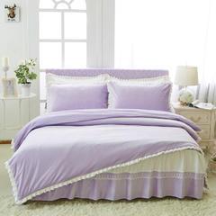 韩版超柔短毛绒夹棉床裙四件套 1.2m床 浅紫