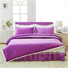 韩版超柔短毛绒夹棉床裙四件套 1.2m床 深紫