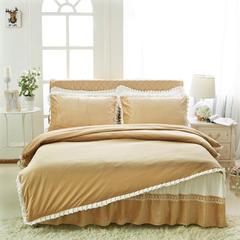 韩版超柔短毛绒夹棉床裙四件套 1.2m床 驼色