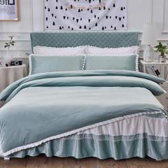 韩版超柔短毛绒夹棉床裙四件套 1.2m床 豆绿