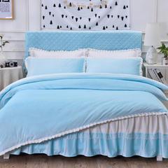 韩版超柔短毛绒夹棉床裙四件套 1.2m床 天蓝