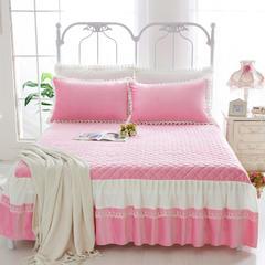 韩版蕾丝夹棉床裙 200cmx200cm 韩版蕾丝夹棉床裙 -粉色