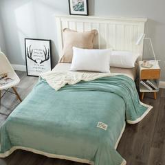 2018新款 美式休闲双层毛毯 150cmx200cm 豆绿