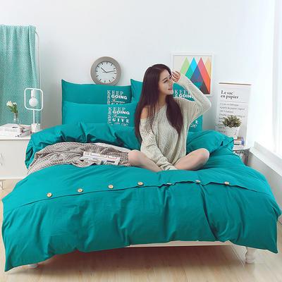 纯棉13372纽扣纯色四件套 1.5m(5英尺)床 梦幻