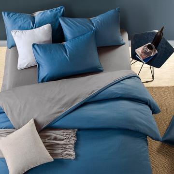 全棉13372纯色双拼四件套 床单款1.2m(4英尺)床 宝蓝灰