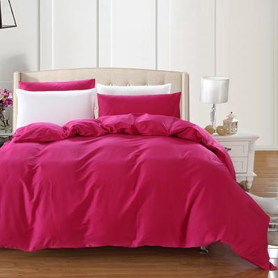 全棉13372单品纯色被套 180x220cm 玫瑰红