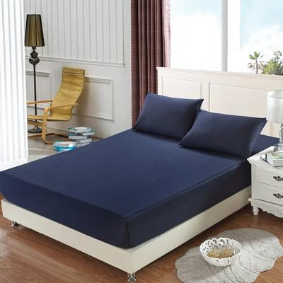 全棉13372单品纯色床笠 150cmx200cm 巴厘蓝