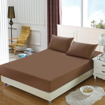 全棉13372单品纯色床笠 150cmx200cm 胡桃咖