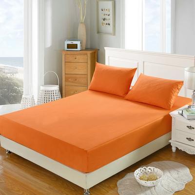 全棉13372单品纯色床笠 150cmx200cm 浪漫橙