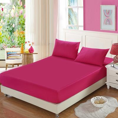 全棉13372单品纯色床笠 150cmx200cm 玫瑰红