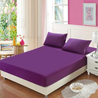 全棉13372单品纯色床笠 150cmx200cm 魅惑紫