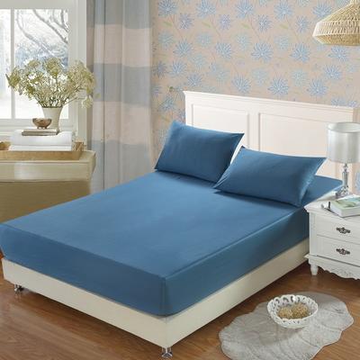 全棉13372单品纯色床笠 150cmx200cm 深海蓝