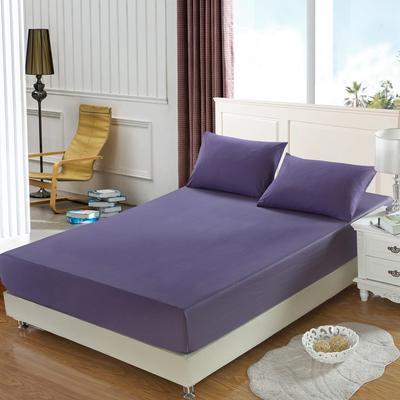 全棉13372单品纯色床笠 150cmx200cm 神秘紫