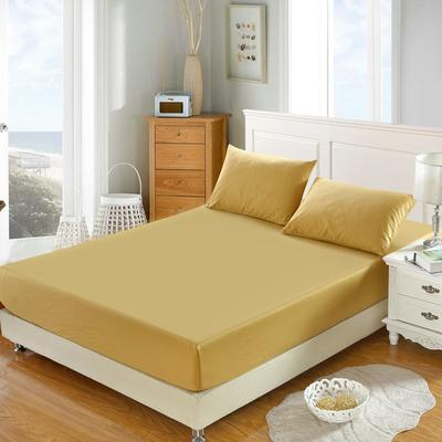全棉13372单品纯色床笠 150cmx200cm 耀沙金