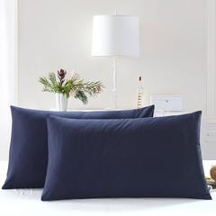 全棉13372单品纯色枕套 48cmX74cm/一对 巴厘蓝