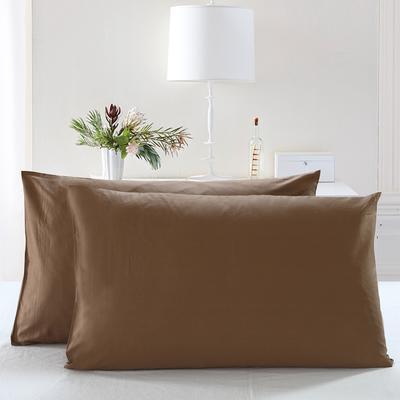 全棉13372单品纯色枕套 48cmX74cm/一对 胡桃咖